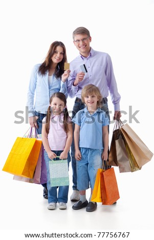 Families with credit cards and shopping on a white background