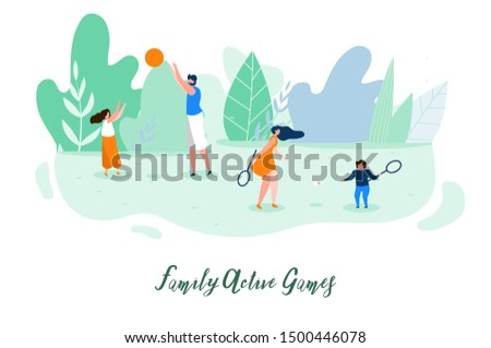 Family Active Games Flat Banner or Poster with Parents Playing Ball and Badminton with Children on Green Meadow in Park Illustration. Outdoor Activity, Healthy Lifestyle, Summer Leisure Concept