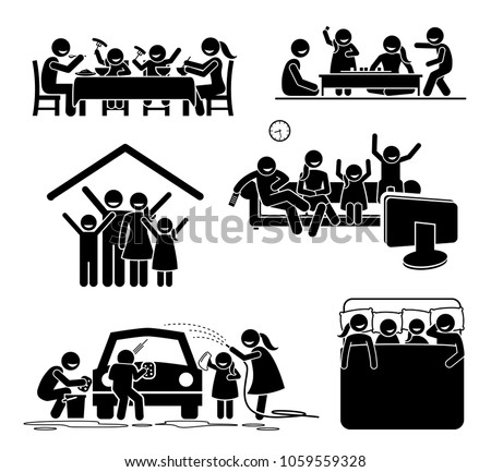 Family activities time at home. Stick figures pictogram depict family having meal, playing board games, watching TV, washing car, and sleeping together at home.