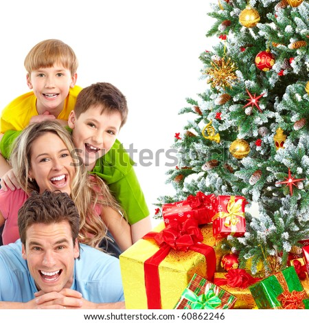 Family and a Christmas Tree. Over white background