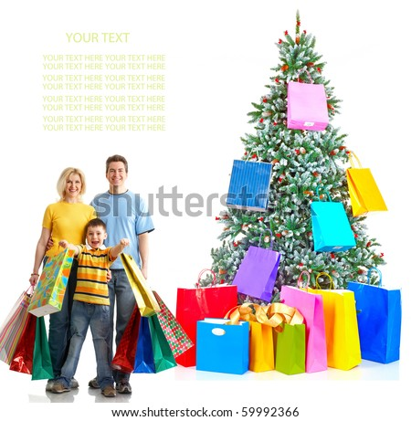 Family and a Christmas Tree. Shopping. Over white background