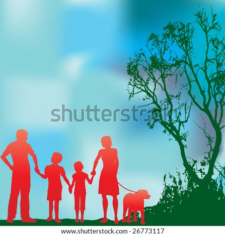 Family and a Green Environment Bitmap Background - stock photo