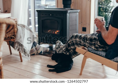 Family and cat relaxing in armchair by the fire place in wooden cabin. Warm and cozy winter holiday concept.