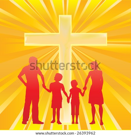 Family and Cross Bitmap Background