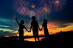 family and fireworks