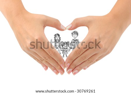 Family and heart made of hands isolated on white background