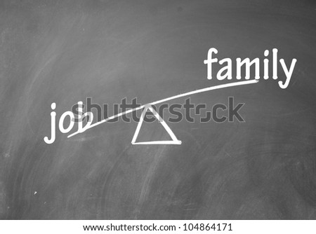 family and job choice - stock photo