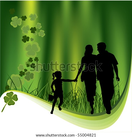 Family and leaf clovers. Nature background