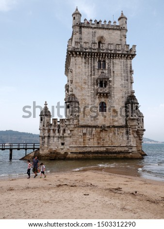 Family by the famous Tourist Destinations. Belem Tower on Tejo River in Lisbon at morning time, Portugal. #1503312290