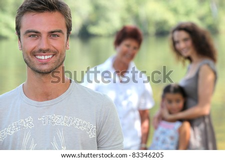 Family by waterfront