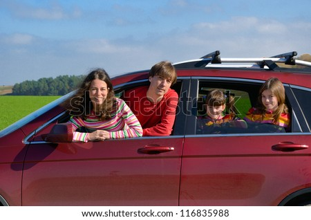 Family car trip on vacation, happy parents travel with kids and having fun. Car insurance and holiday concept