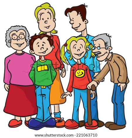 family cartoon illustration