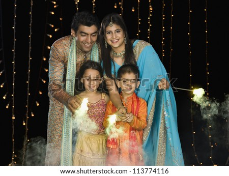 Family celebrating Diwali festival
