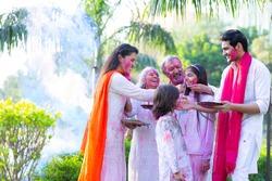 Family celebrating holi in the park