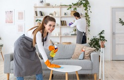 Family cleaning on weekend. Smiling young woman in rubber gloves wipe table with spray, man wipes dust with brush in interior of living room, free space