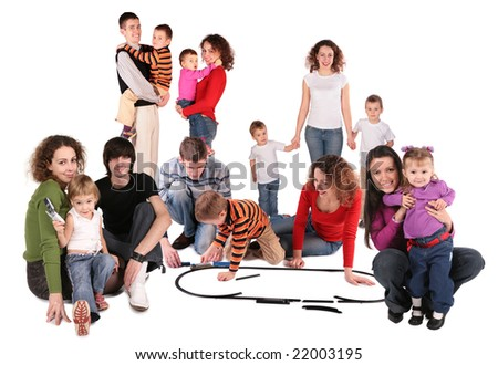 family collage with toy train