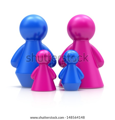 Family concept. Abstract 3d figures isolated on white background.