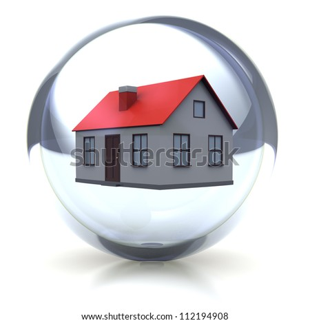 Family concept: house in transparent glossy ball