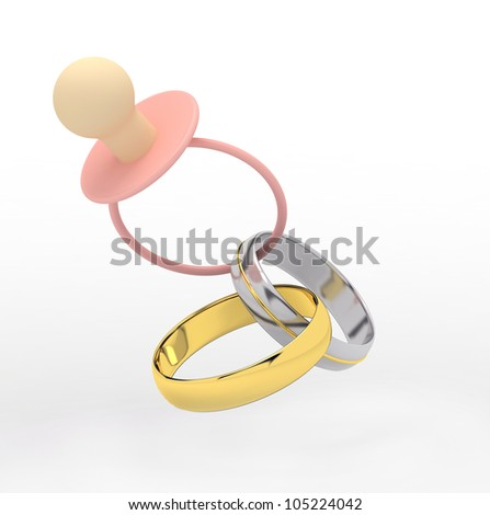 family concept - pink pacifier and wedding rings connected between each other