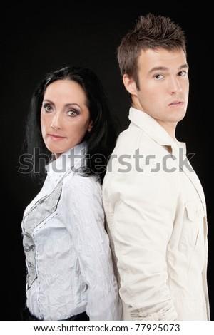 Family couple has quarreled, on gray background. - stock photo