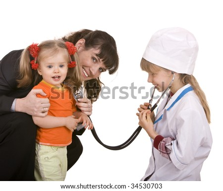 Family doctor and little girl. Isolated.