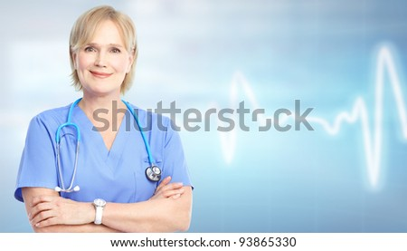 Family doctor over blue background. Health care.