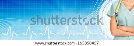 Family doctor woman with stethoscope. Healthcare banner.