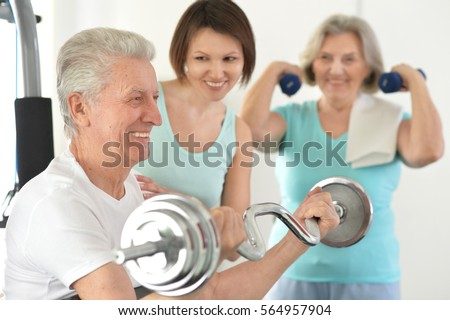 family doing exercises