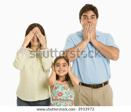 Family doing hear no evil, see no evil, speak no evil gestures.