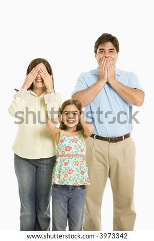 Family doing hear no evil, see no evil, speak no evil gestures.