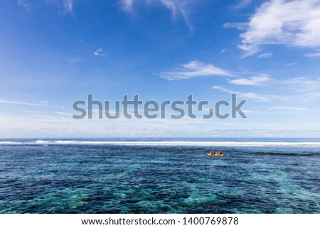 Family doing watersport kayak in clear pacific ocean water in the reef on a tropical island, Samoa, Polynesia. #1400769878