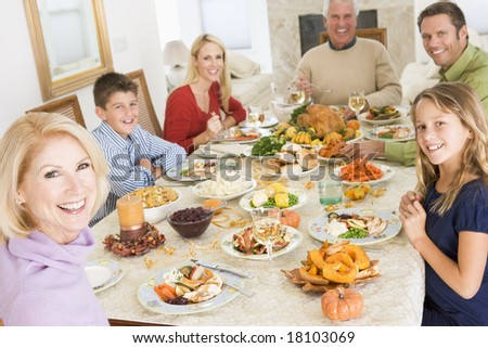 family eating christmas meal