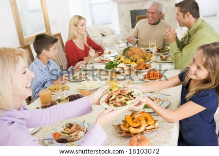 stock photo : family eating christmas meal