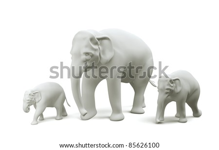 Family Elephant Thailand model 3D side view, Illustration and Rendering isolated.