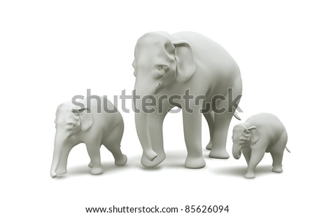 family elephant Thailand model 3D side view, isolated on white background