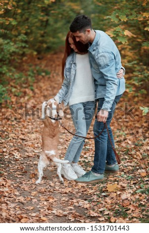 family enjoying hugging, playing with beagel outdoors, enjoyment concept