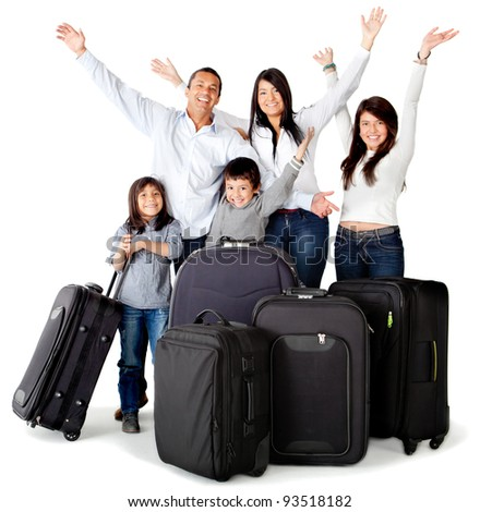 Family excited about a trip with bags - isolated over a white background