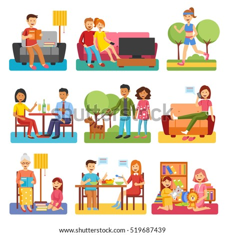 Family flat style people figures website icons set of parents children couple icons set isolated  illustration collection