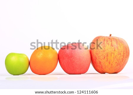 Family Fruit ( mix fruit ) fruits isolated on white background