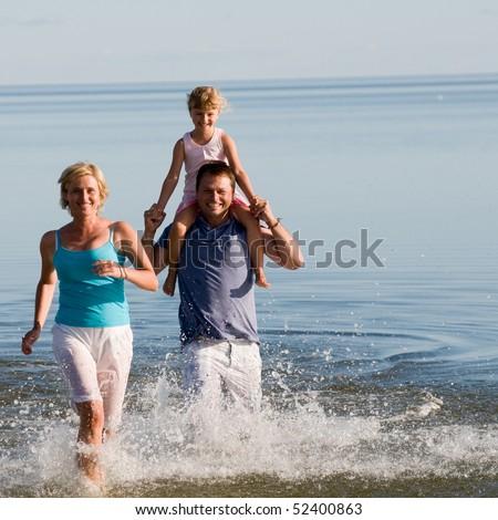 Family fun,sea and sun - stock photo