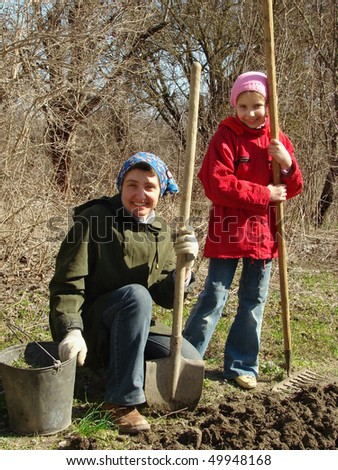 family gardening at the early springtime