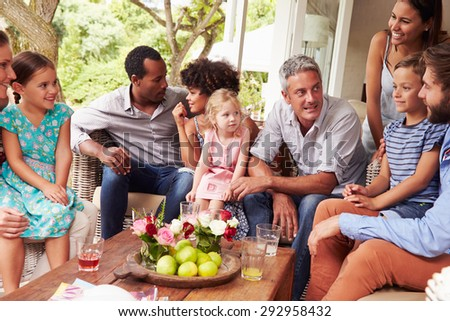 Family gathering in a conservatory