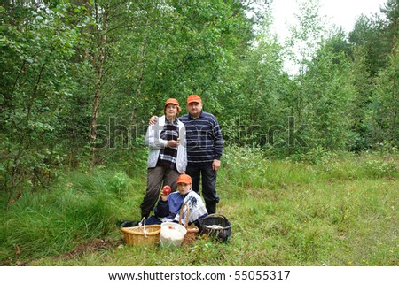 Family gathering mushrooms in the Estonian forest