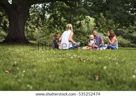 Family Generations Picnic Togetherness Relaxation Concept