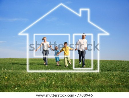 family grass sky. dream house