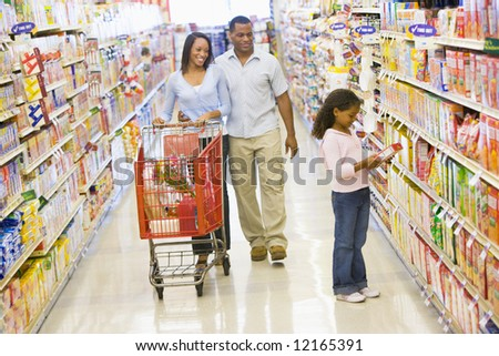 Family grocery shopping in supermarket