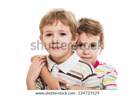 Family happiness - two little smiling child boy brothers white isolated