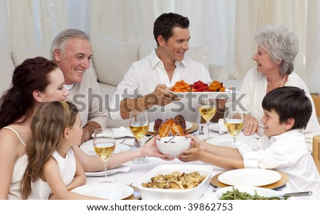 Family having a big dinner together at home