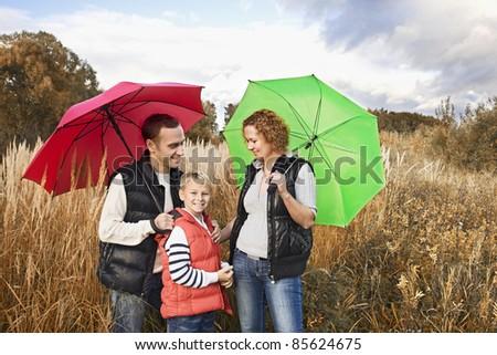 Family having a walk at countryside