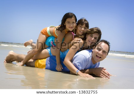 Family having fun on a beach
